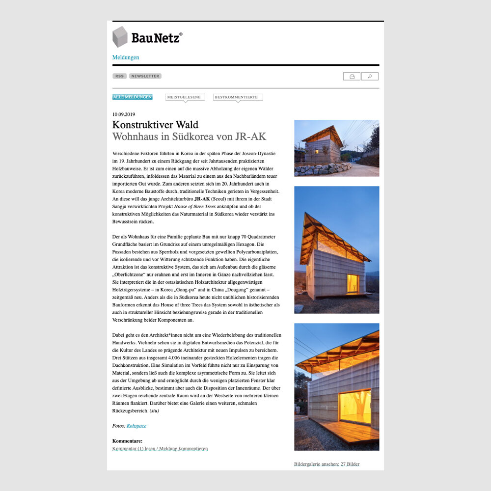 July 2019- BauNetz Germany - The House of Three Threes