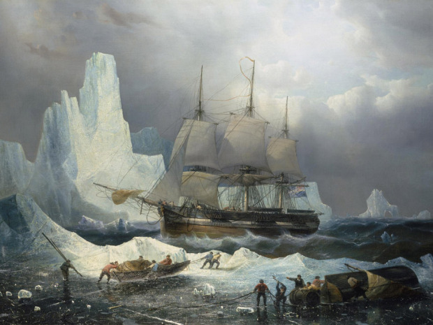UNDATED -- Undated handout of the painting HMS Erebus in the Ice, 1846, by Francois Etienne Musin, 19th century. . The 165-year-old ship's clock that was supposed to have been lost in the Canadian Arctic with the ill-fated Franklin Expedition has inexplicably surfaced in Britain. HANDOUT PHOTO: © National Maritime Museum, London For Randy Boswell (Canwest). 0925-franklin-ships