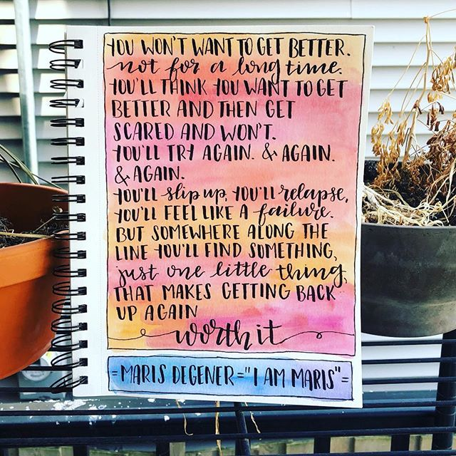 "Feeling so touched and grateful that Emily of @artwithanxiety made art out of this quote from the film! 💗  Creating art was (and is) integral to my healing process. It allowed me to take emotions that felt heavy on the inside and put then somewhere outside of my body. Even if I couldn't ""solve"" or ""fix"" the difficult emotions that were coming up, I at least didn't have to carry them around anymore. And the best part was that by choosing a visual medium of painting and drawing, I didn't even have to try and put words to what I was feeling.  Even you're not an ""artist,"" I still recommend finding a form of creativity and trying it out as a means of processing + coping. There is no pressure for it to be the next Mona Lisa: it's just one avenue of untangling what you're experiencing emotionally.  #Repost @artwithanxiety ・・・ YOU GUYS. The wonderful @yogamaris now has a documentary on Netflix about her recovery and it's incredible. Maris, following your journey has been so inspiring and your story is one that so many need to hear - filled with strength, hurt, fear, determination, and so, so much hope. You are so meant to live 💕 . . #iammaris #iammarismovie #iammeanttolive #eatingdisorderrecovery #yogi #yoga #recoveryjourney #edrecovery #netflixdocumentary #yogajourney"