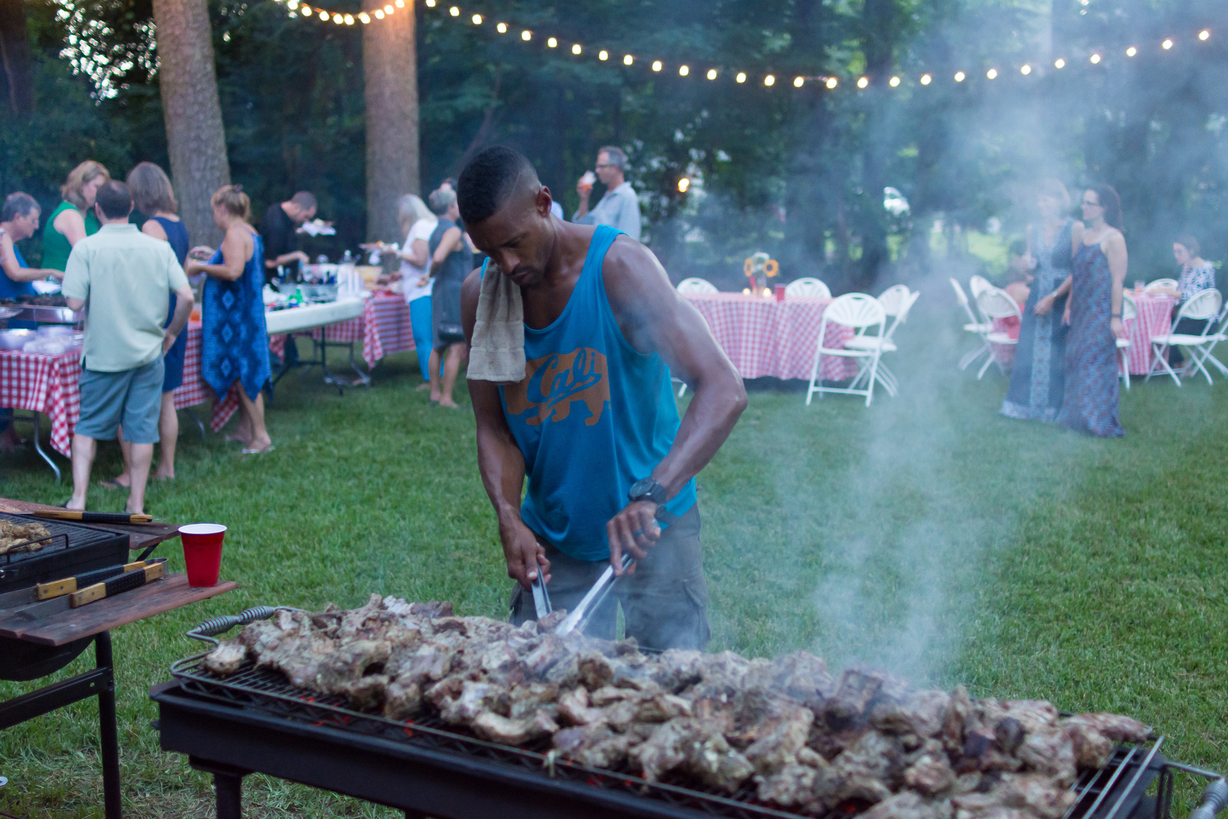 Brandon Wright, better known as Chef B, on the grill that wonderful night with chicken and ribs. The 40 guest didn't know what was in store for them as they bought all the first jars of what came to be known as BnB Gourmet and Grill Saus.