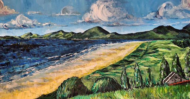 #harlech #bay as the #sea and #clouds #roll in #paintings #landscapepainting #wales #northwales #snowdonia #gwynedd #acrylicpainting #windy #seaside #beachwalk