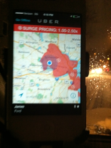 "Early Uber App ca. 2014. Note: areas in red are ""surge priced""."