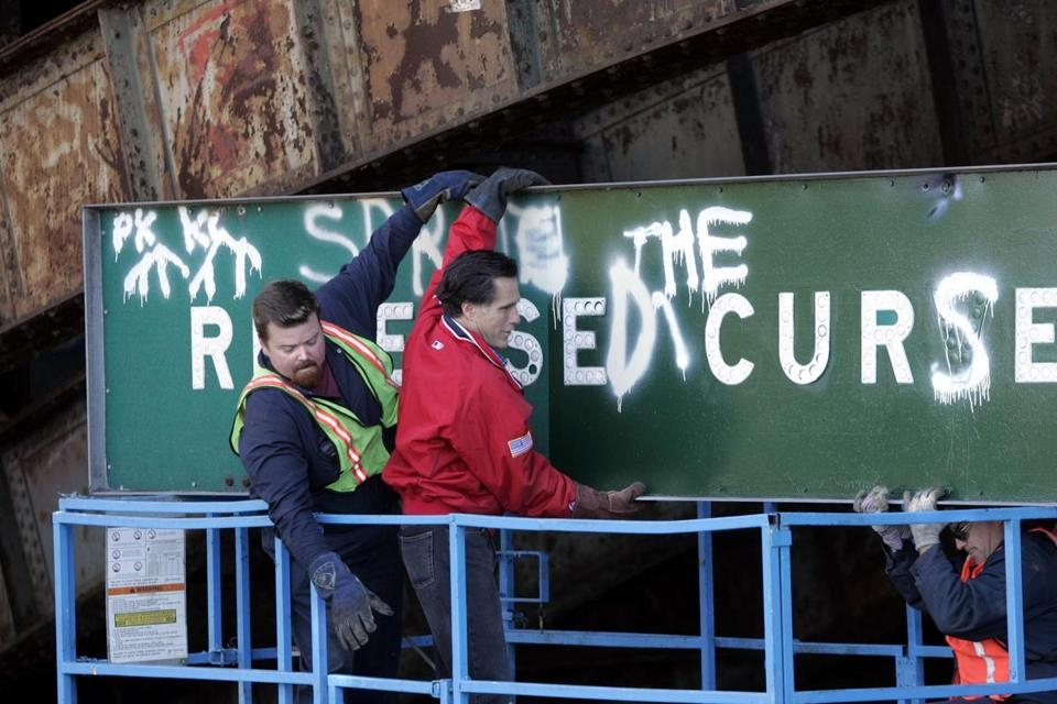 """Former Gov. Mitt Romney Helping To Remove """"Reverse The Curse"""" Sign Over Storrow Drive, ca. 2004"""