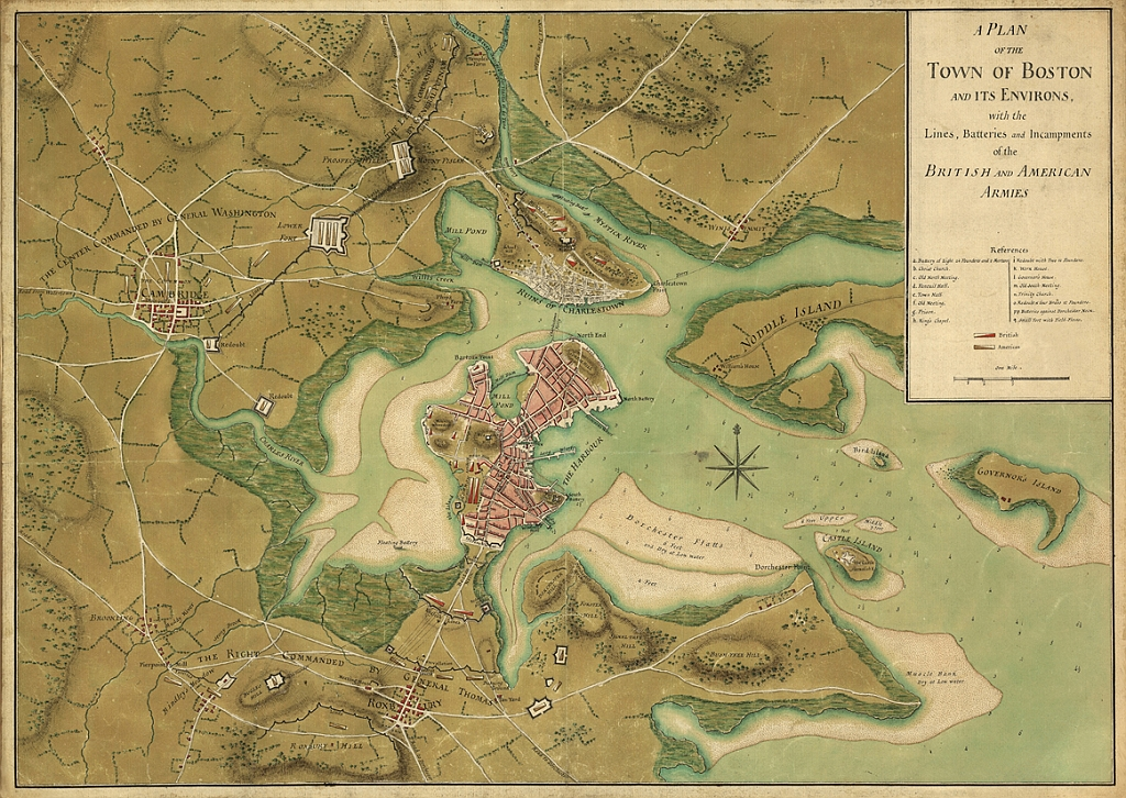 A Plan Of The Town Of Boston And Its Environs, With The Lines, Batteries, And Incampments Of The British And American Armies.  Page, Thomas Hyde, Sir, 1746-1821. Published, 1776.