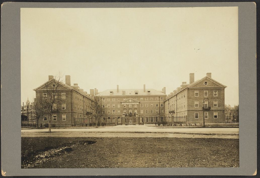 Gore Hall, Standish Hall, and Winthrop House (Source: Harvard Archives)