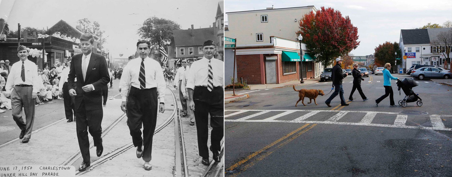 THEN: John F. Kennedy in the Bunker Hill Day Parade, Charlestown, MA, 1950. NOW: Same spot in 2013 (Source: Boston Globe)