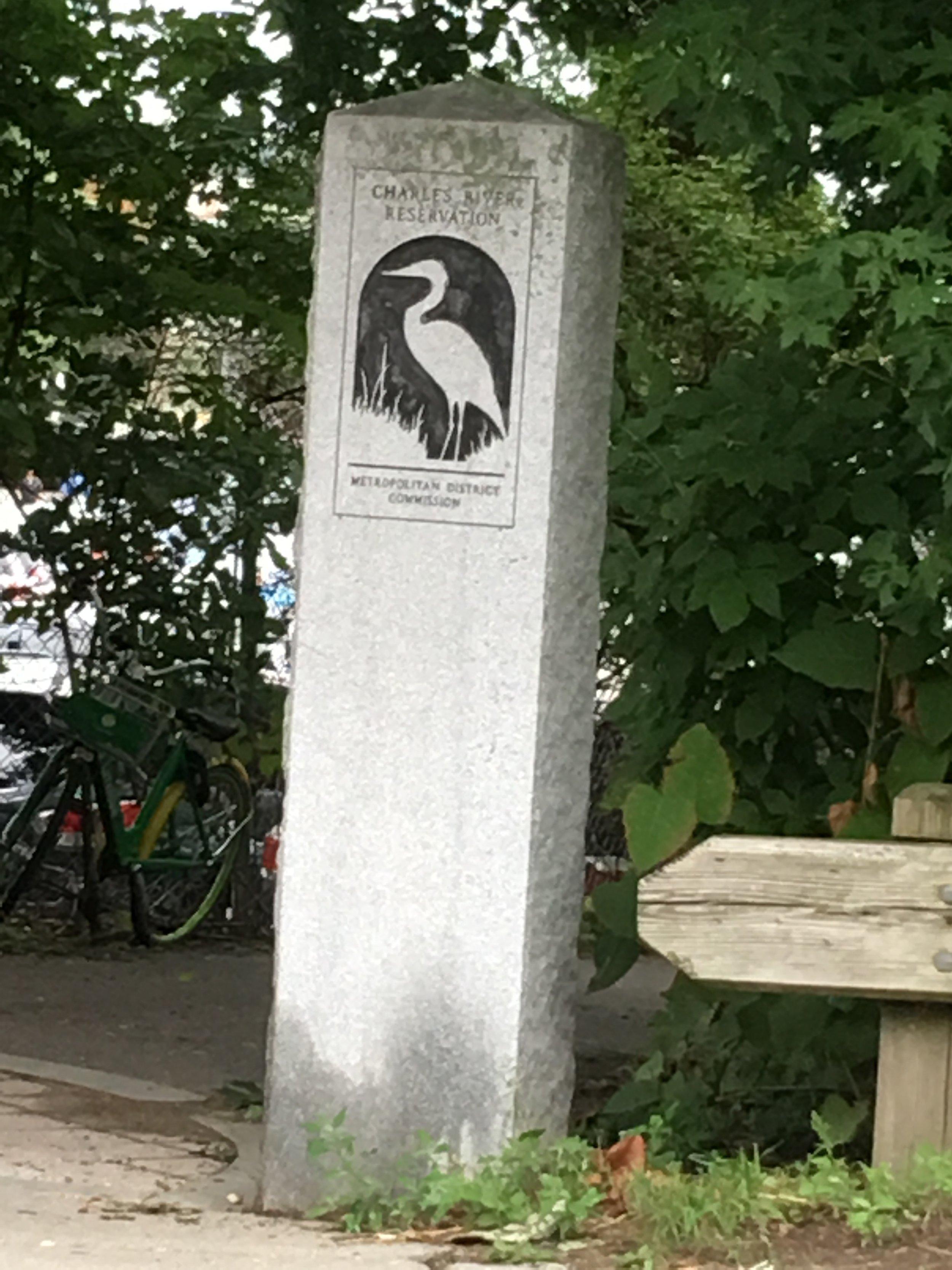 Marker along the bike trail