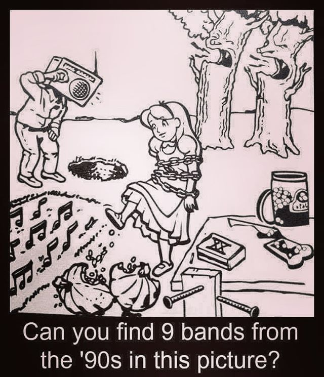 Can anyone name the 9 bands from the 90's in this picture?  Tag a friend who think can help you 🤓🤓 Good Luck 😝🤪 ————————————————————— #Puzzle #puzzles  #puzzlefeed #brain #brainteasers #braintraining #Music #Band #90s