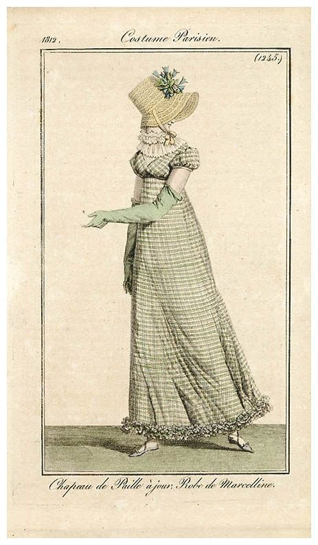 1812 Costume Parisian fashion plate - Beautiful crossover gown in a checked fabric.