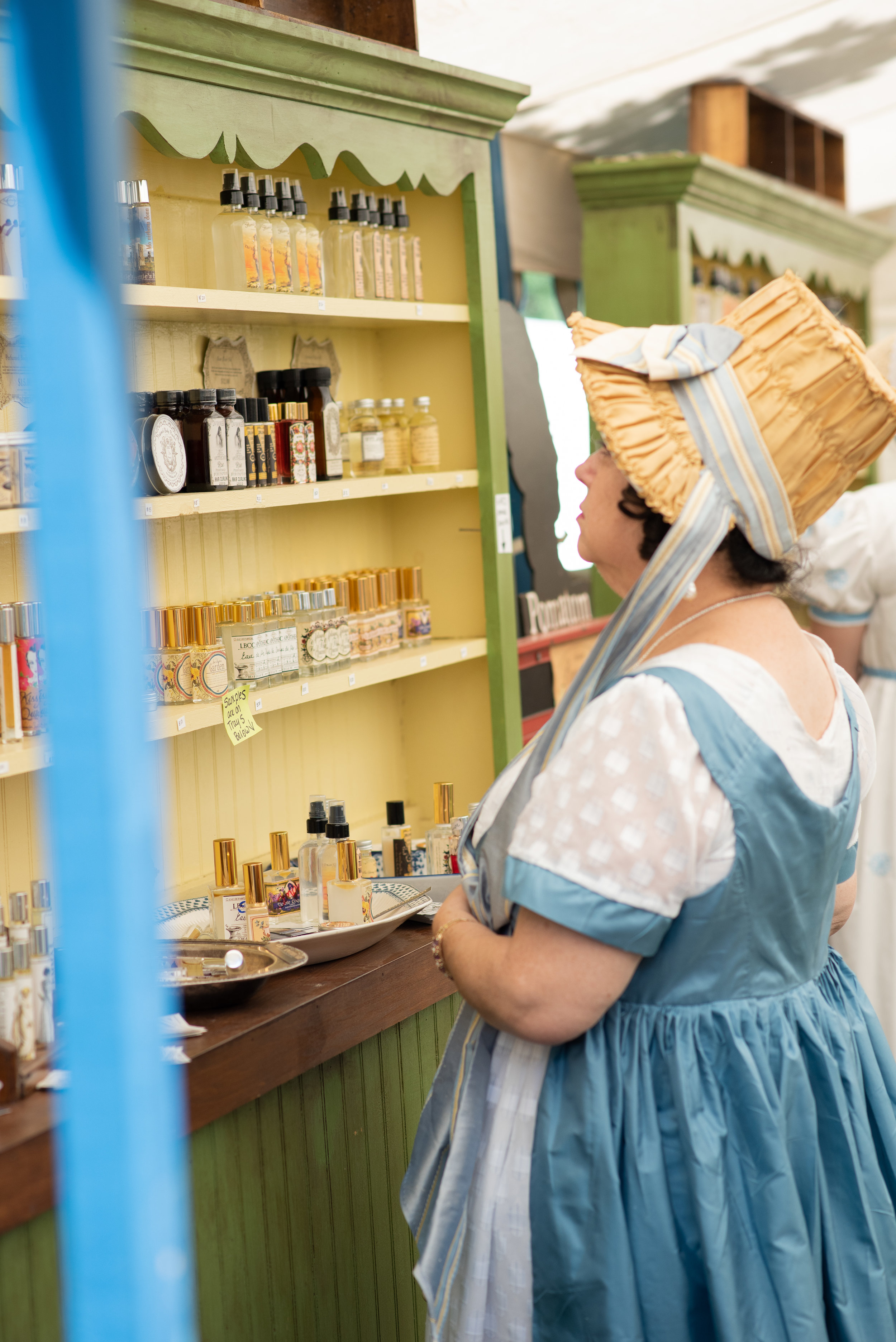 LBCC Historical Perfumes Scents Jane Austen Festival Louisville Kentucky 2019 Regency Bonnet Lady Dress