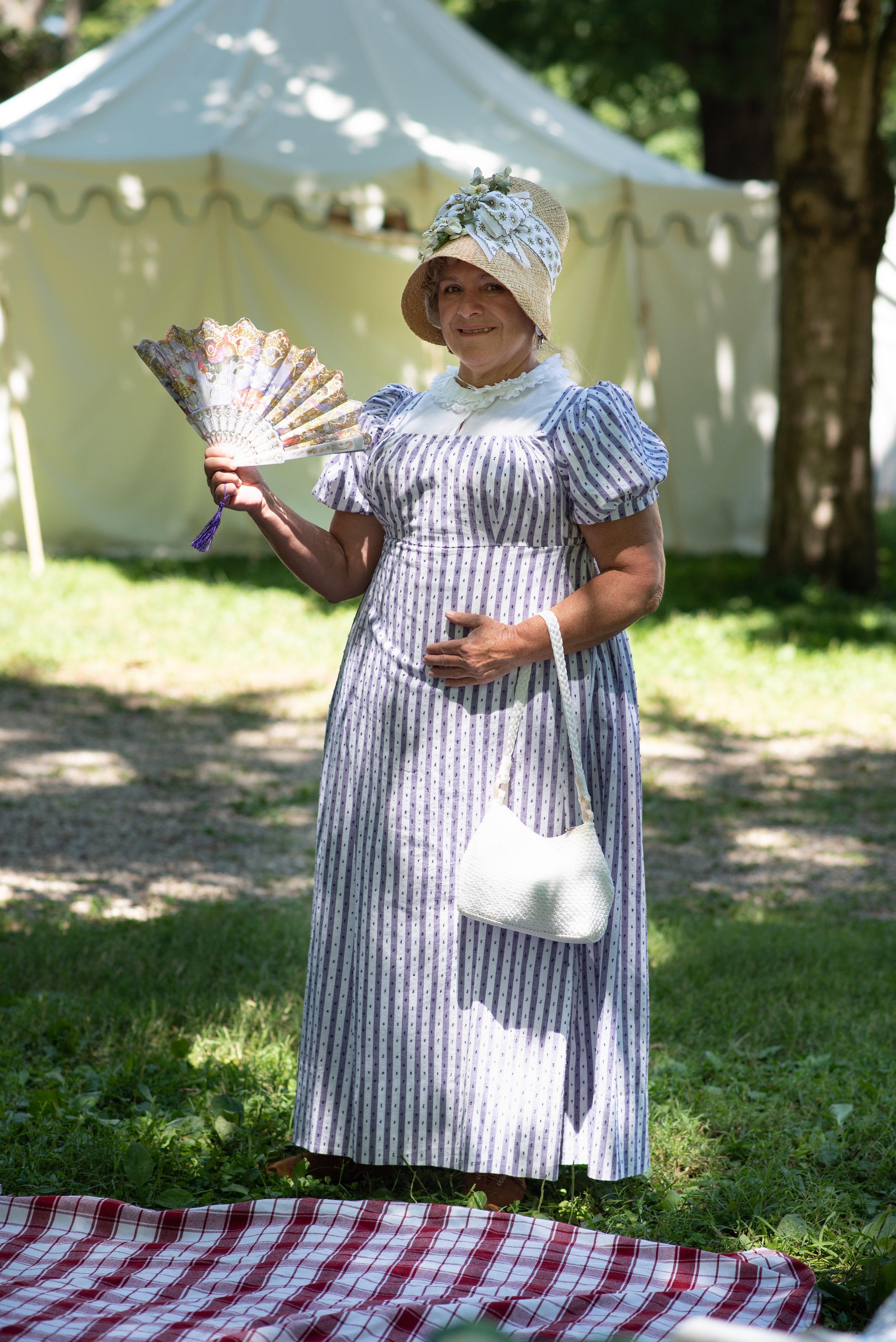 Regency Dress Jane Austen Festival Louisville Kentucky 2019 Regency Bonnet fan hat