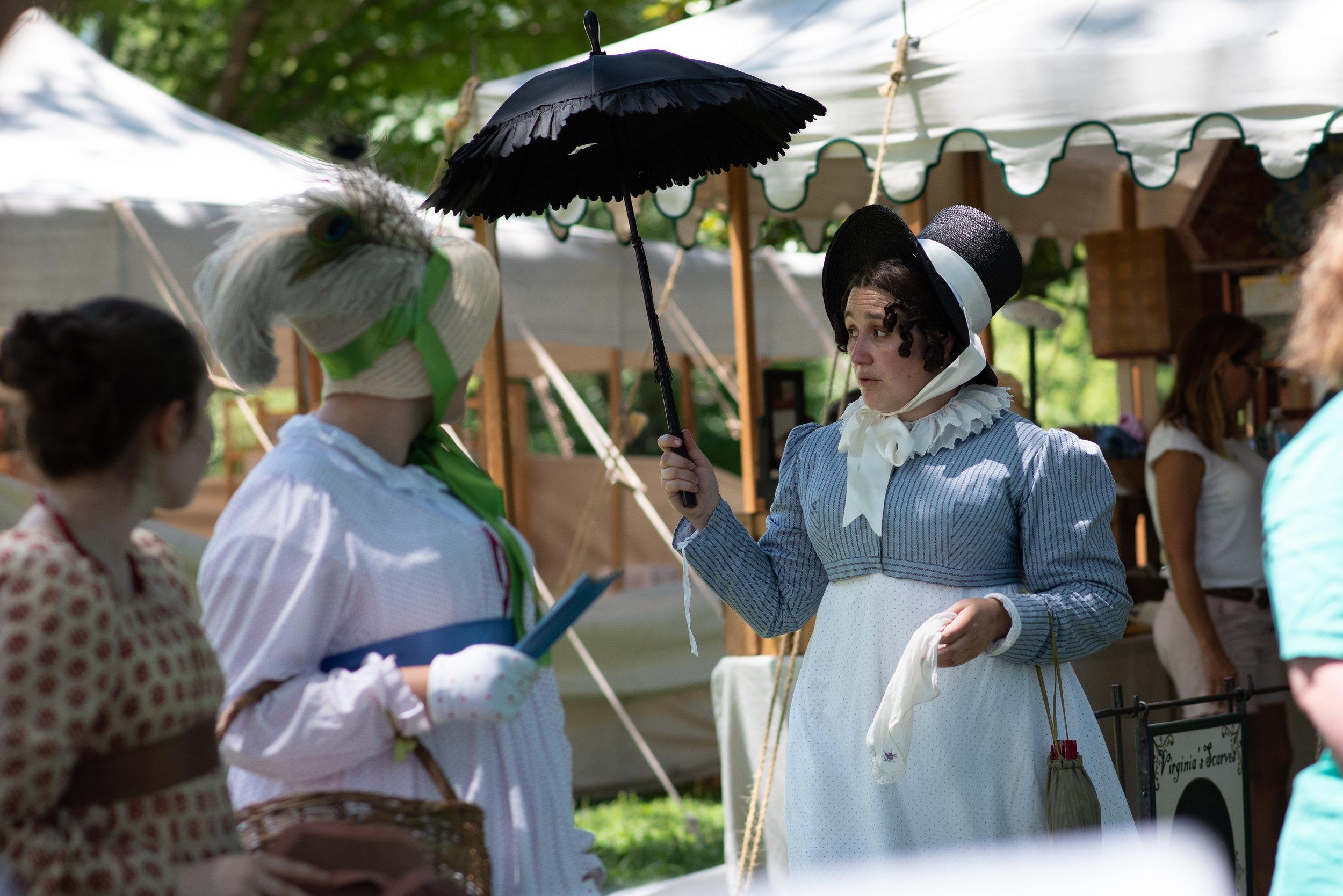 Jane Austen Festival Louisville Kentucky 2019 Regency Bonnet Federal Hat Parasol