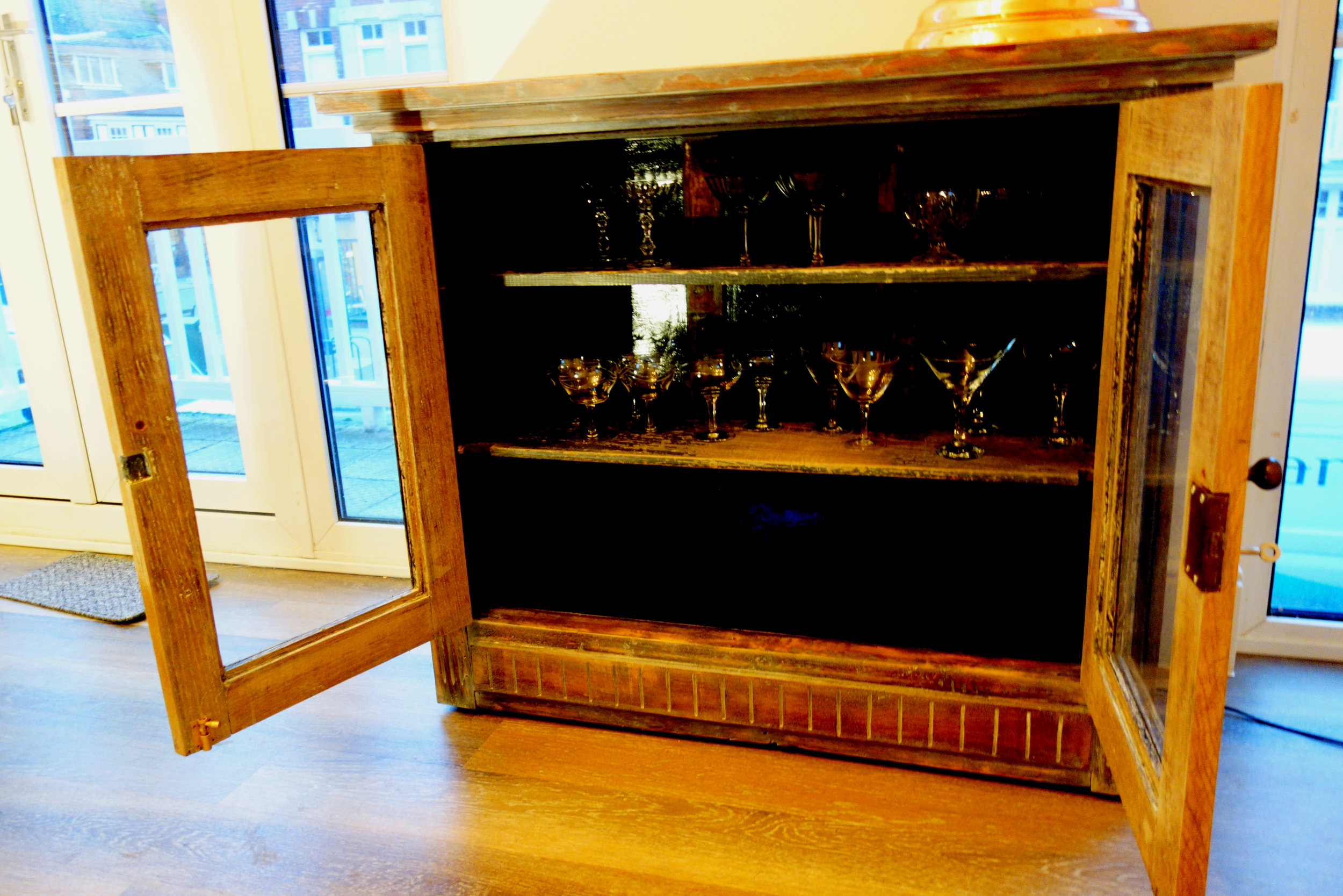 We have many preloved objects, either found, restored or built. - Mirrors, cabinets and lighting