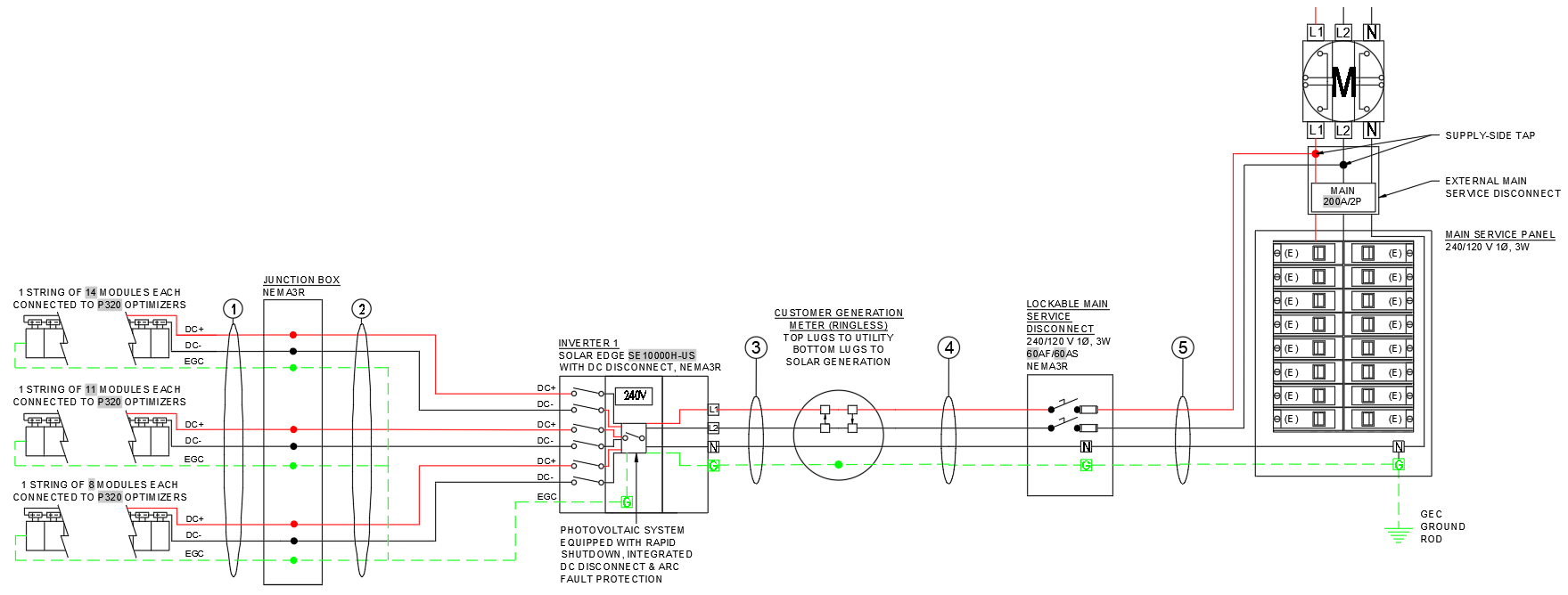 Electrical Line Diagram for Solar