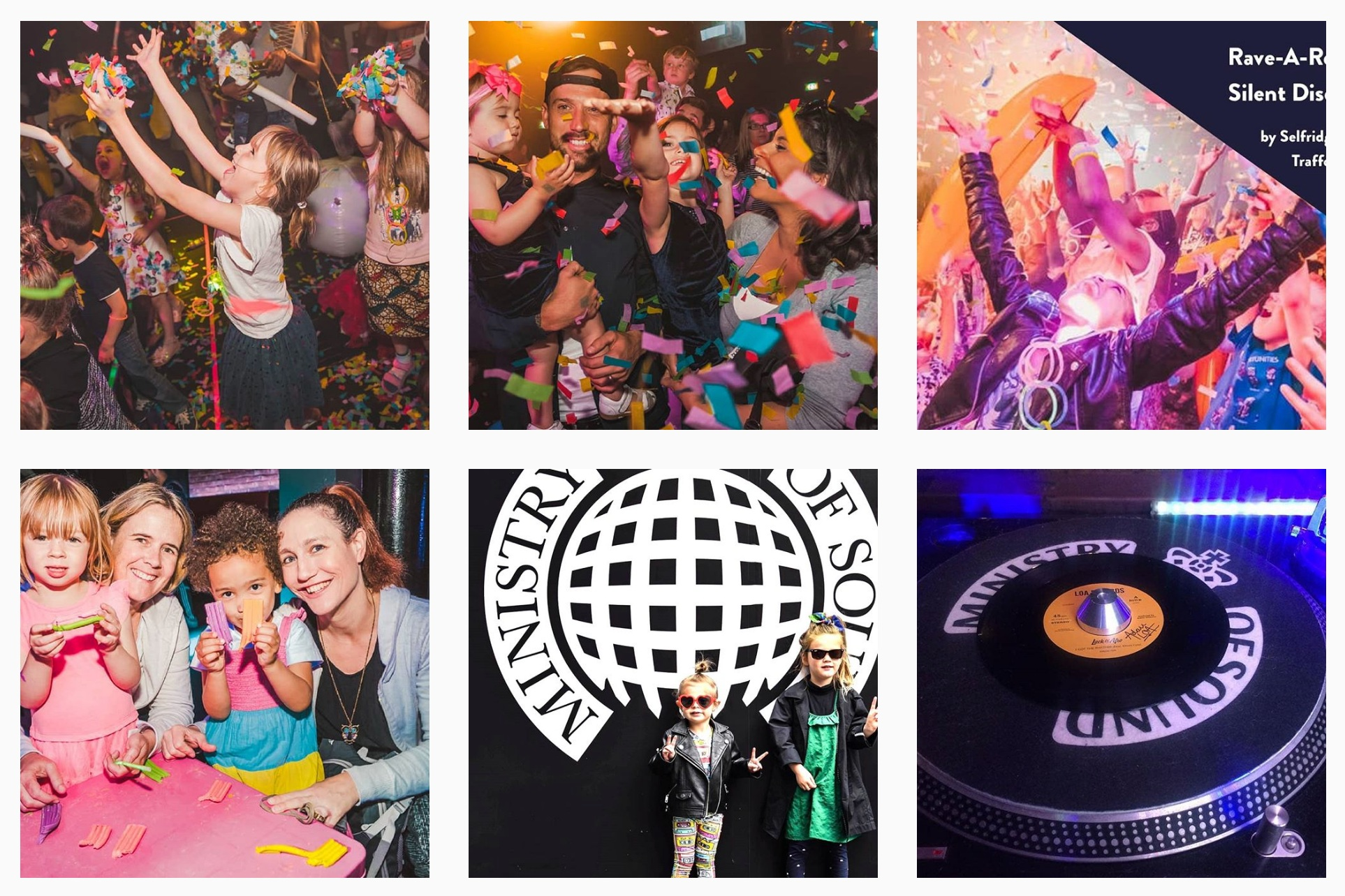 Rave-A-Roo's    Instagram has a clear visual identity relying on colourful images of children engaging in their shows that is instantly recognisable