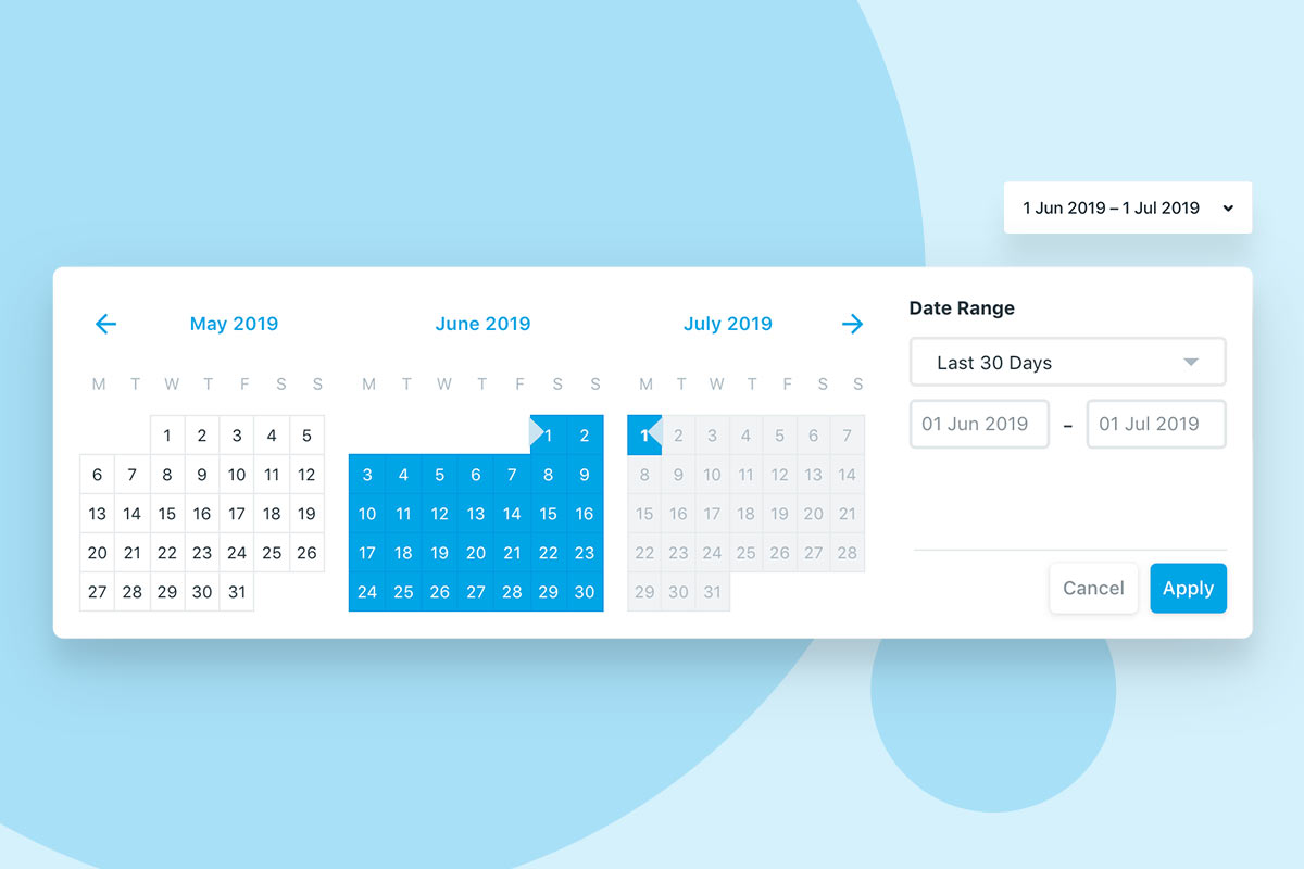 Use the new date picker to select from a range of presets or set your own custom date range.