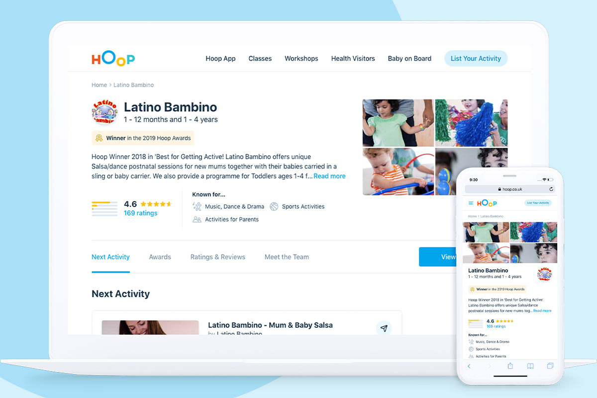 Make sure your Hoop page stands out from the crowd by choosing an eye-catching image, making it clear what you offer, and asking your regular customers to review and rate your activities.
