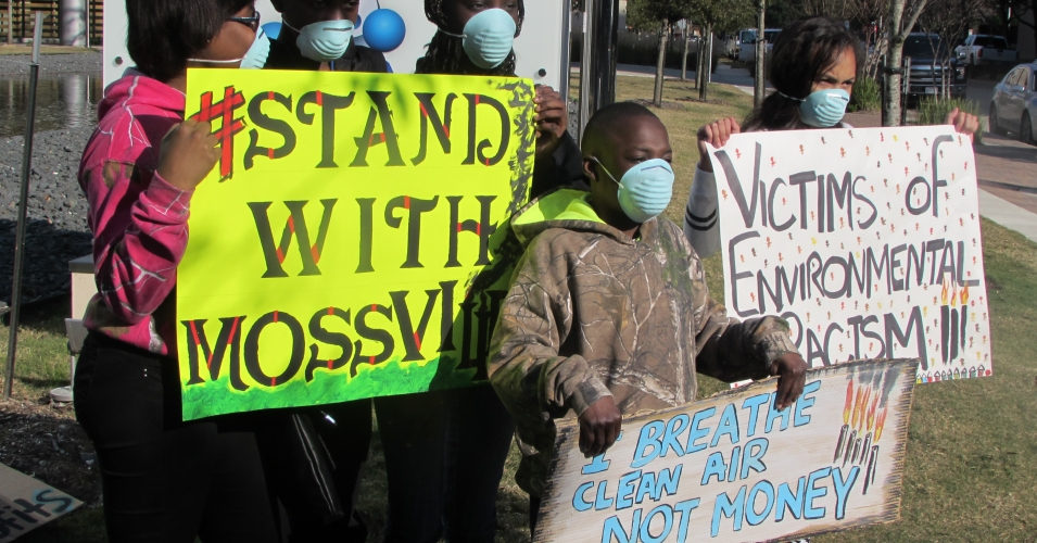 Residents of Mossville, a 225 year Black community founded by former slaves, protests another chemical plant coming to their community.