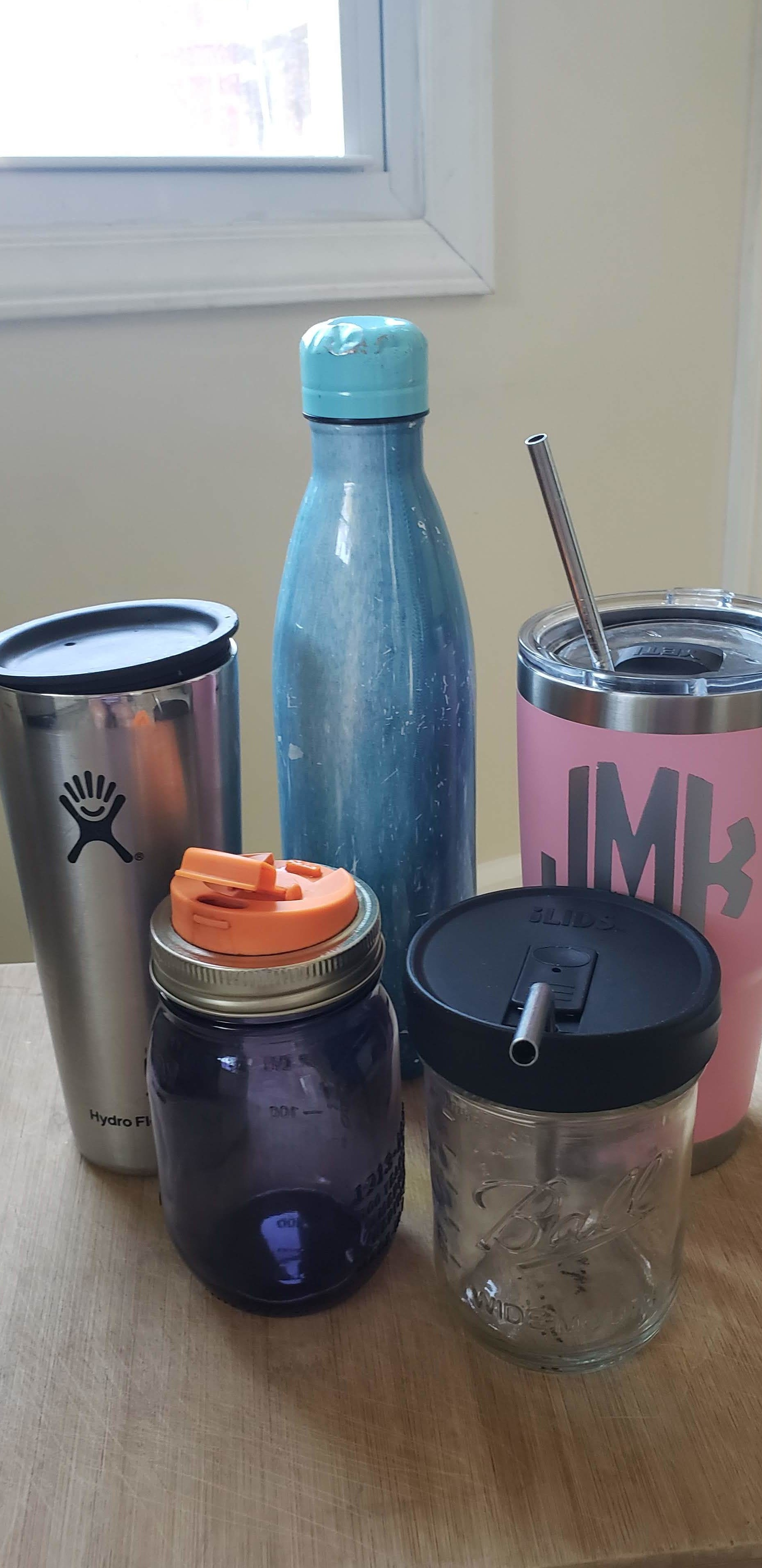 Some of my favorite reusable cups, jars, lids and straws.
