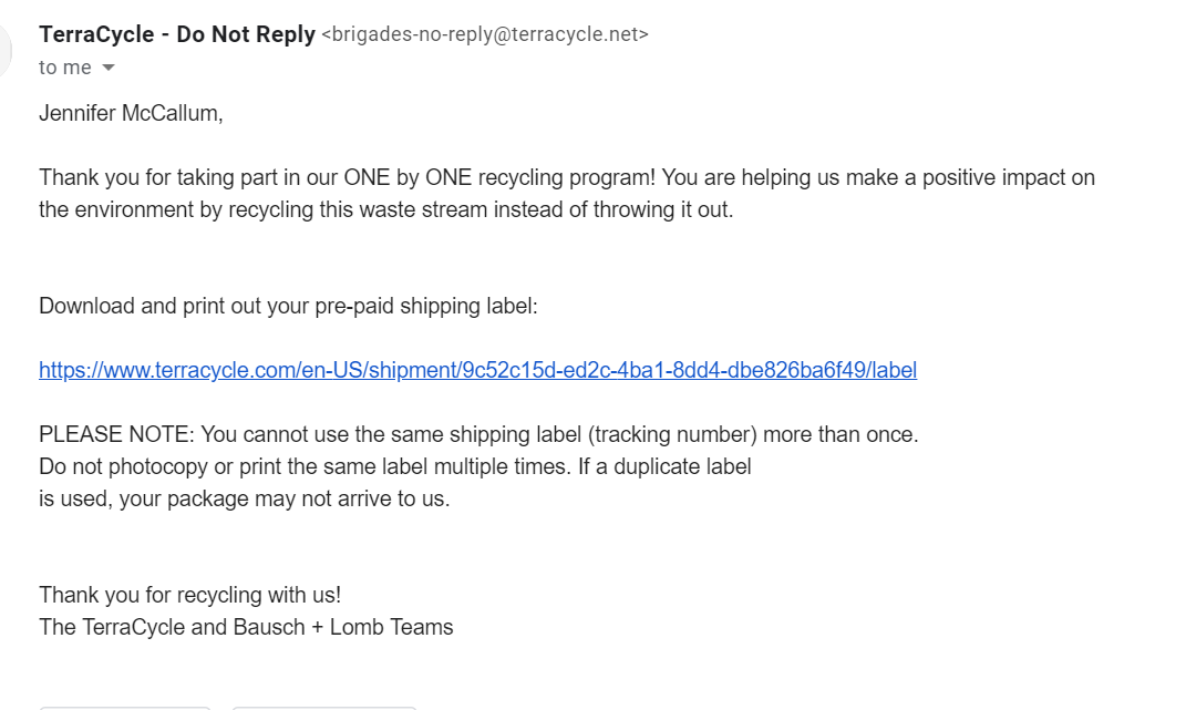 This is the email I received after completing the online form for a shipping label.