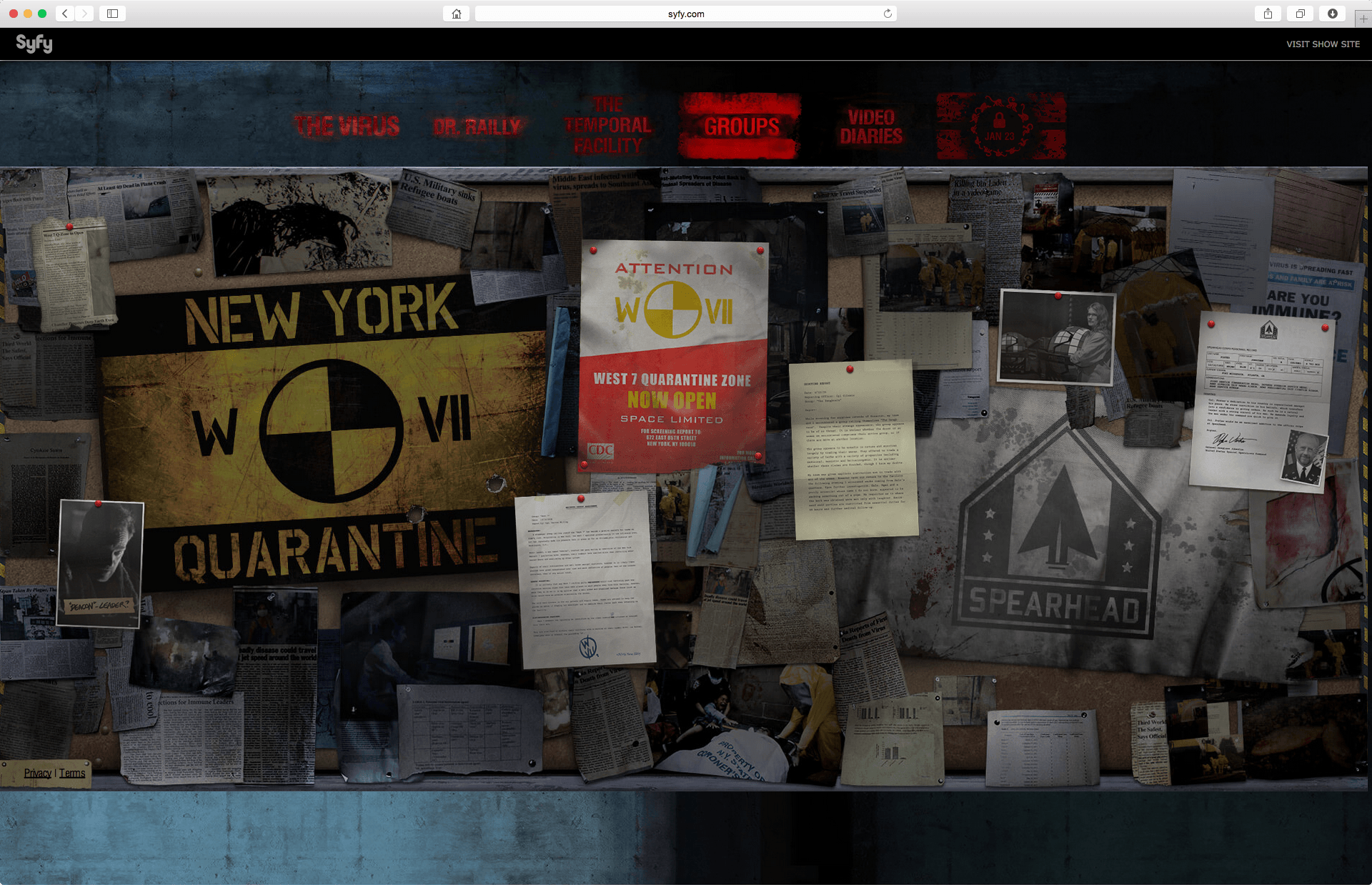 The wall of information on the main organized Groups in show's story.