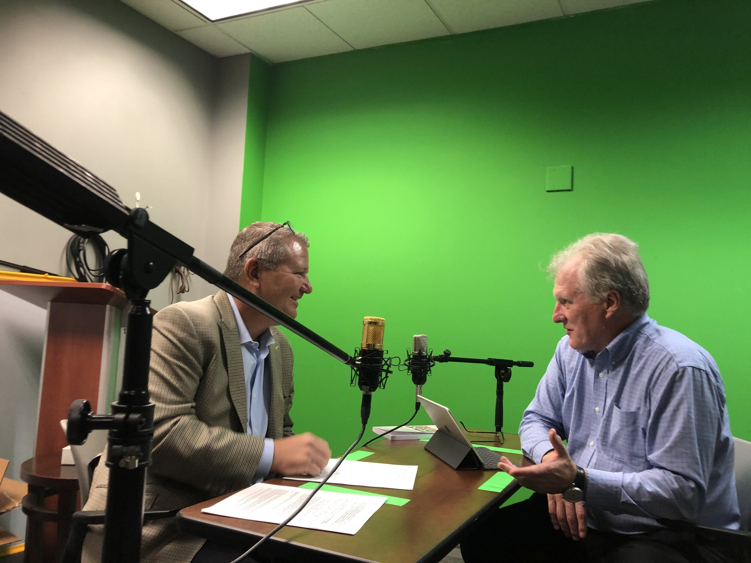 """Stephen Hart (right) interviews Jason Richmond for the Learning Aloud podcast at Organizational Dynamics recorded at the University of Pennsylvania's campus studio. """"A wonderful conversation,"""" said Steve, Senior Consultant and Coach at The Professional Development Group and formerly VP, Human Resources, Federal Reserve Bank of Philadelphia."""