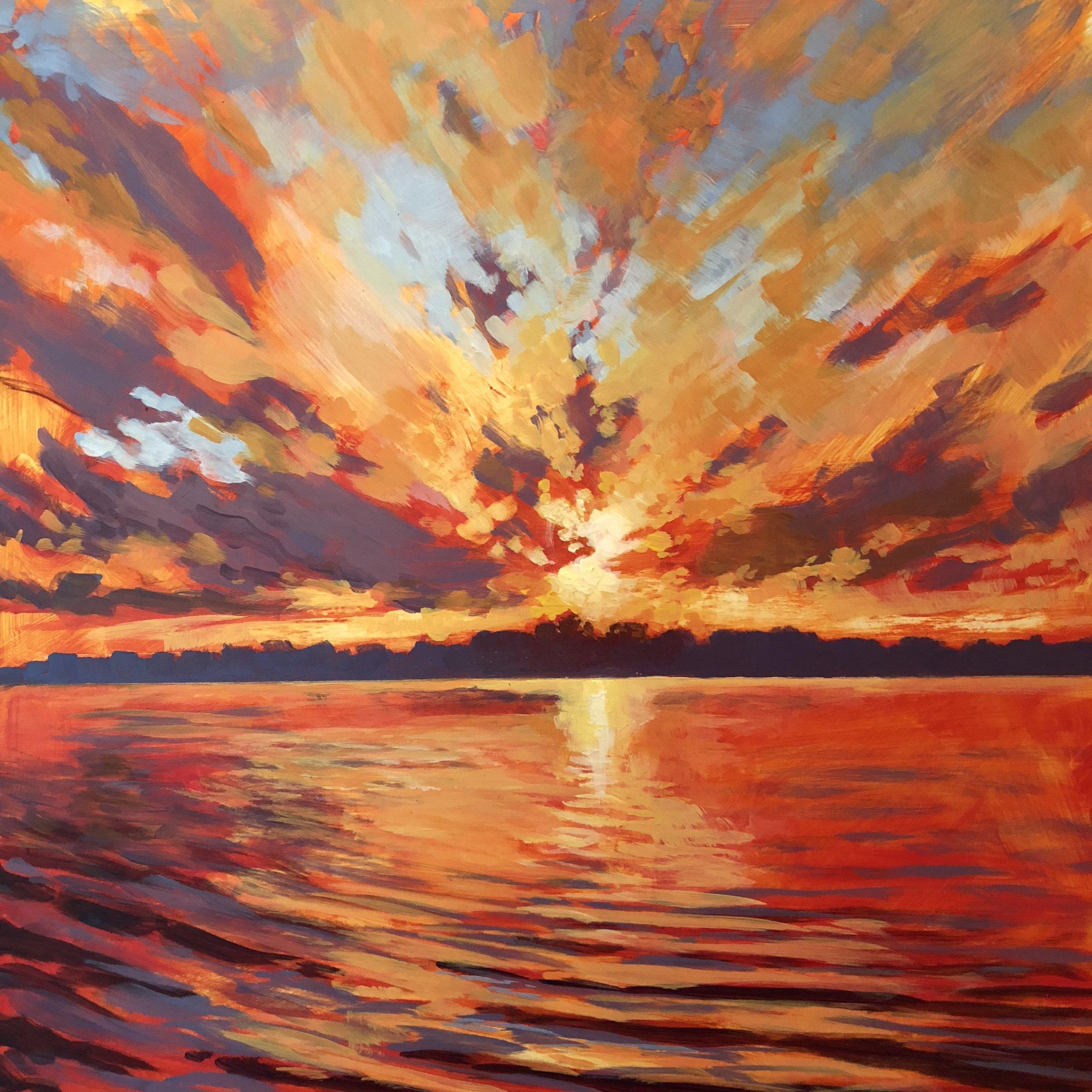 Lake Sunset,  acrylic painting by Jim Musil (USA)