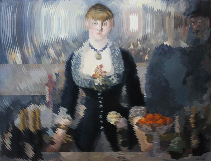 A Bar at the Folies-Bergère (after Manet)  - Oil on canvas - 76.5cm x 99.8cm - £7500