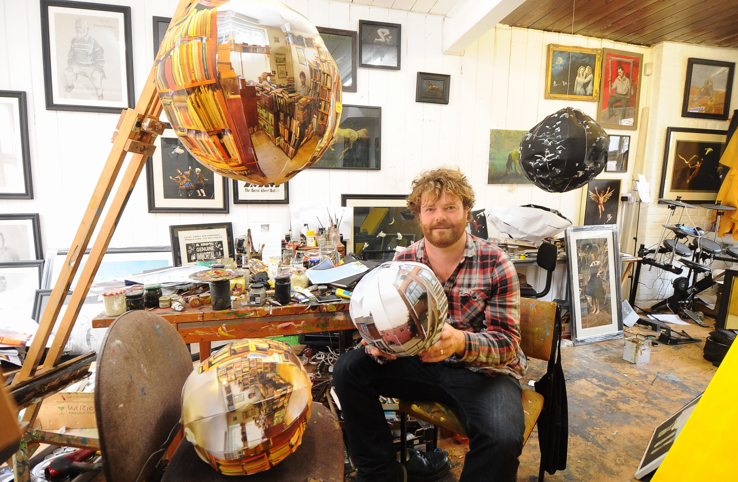Will Teather in his studio with prototypes of Infinite Perspectives.jpg