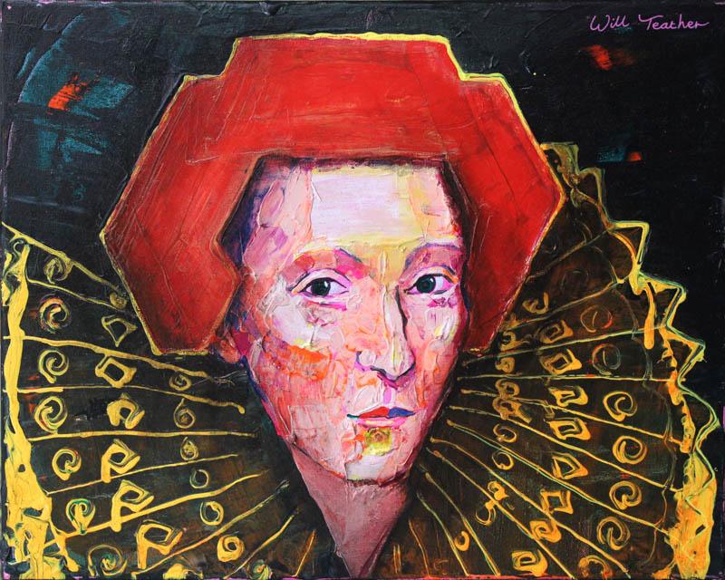 Elizbeth 1 (after British School)  - Oil on canvas - 40.5 x 50.7cm - £475