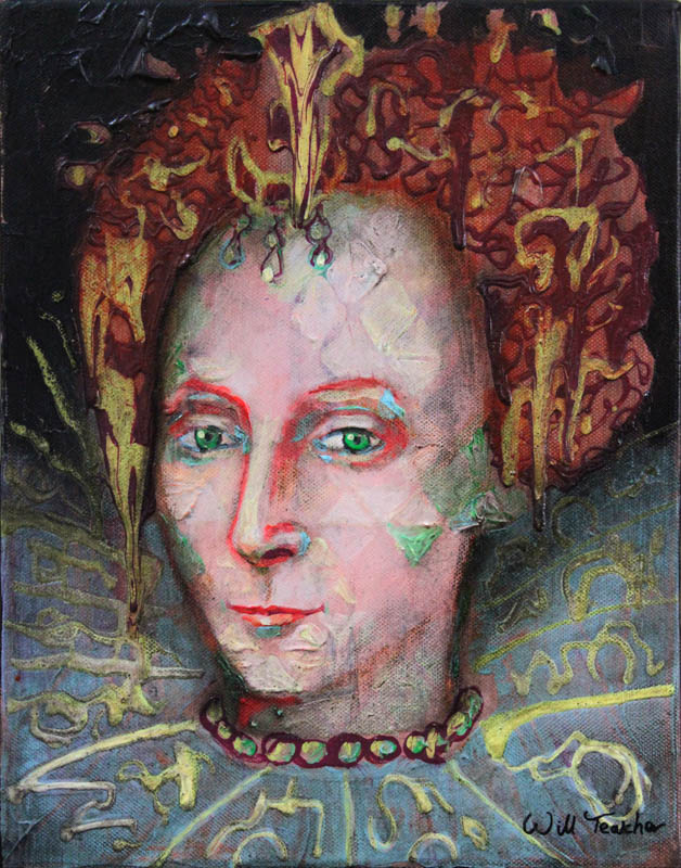 Queen Elizabeth I ( after The Ditchley portrait Gheeraerts)  - Oil on canvas - 28 x 25.6cm - £400