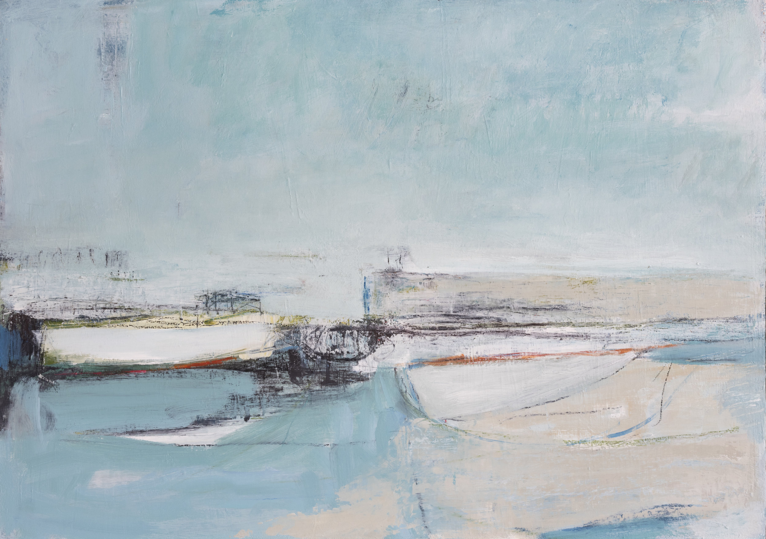 On this Watery Shore  (2018–2019) | Mixed media on panel, 84cm x 60cm, sold