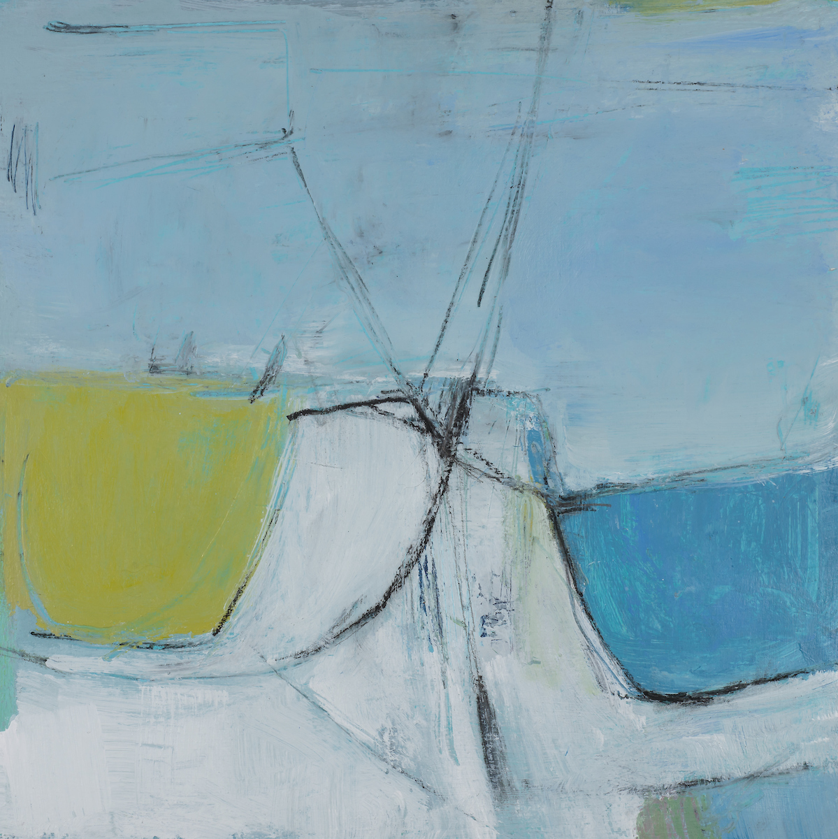 Pendulum Movement  (2018) | 40cm square, mixed media on panel, sold