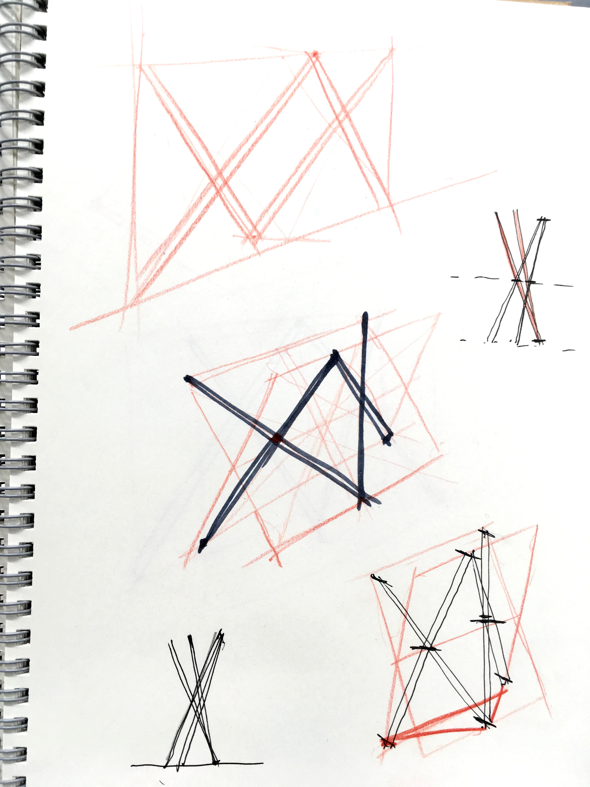 Initial sketches of the structure. It was a brain puzzle to figure out even though I had the general idea in my mind.