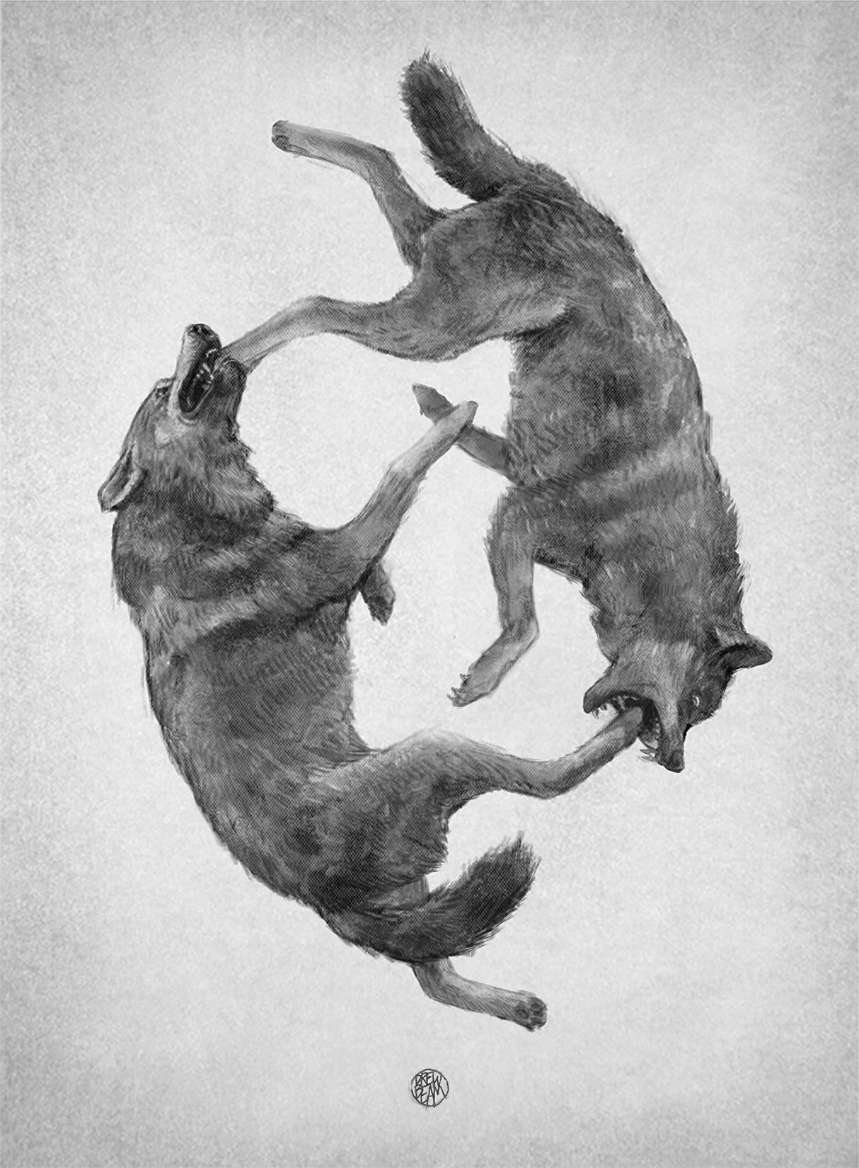 TWO WOLVES   BY DREW BEAM, PENCIL & PAPER