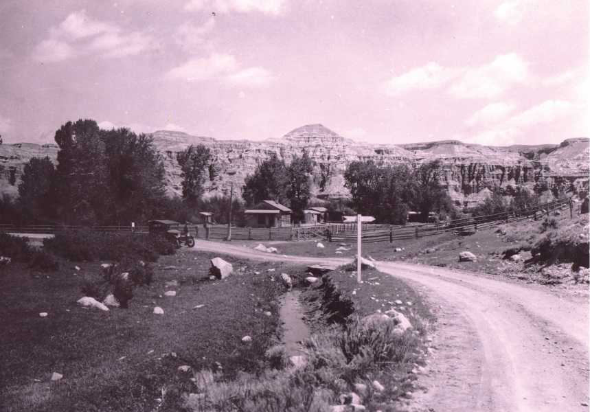A model T on the original Yellowstone highway that is directly south of the Homestead cabin, circa 1930's.
