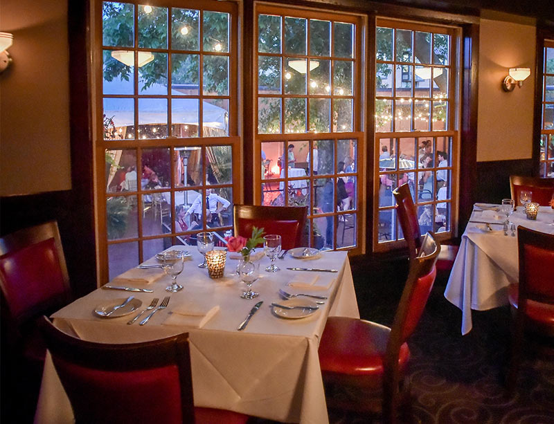 The Garden View Room - The Garden View Room is our most spacious inside dining room and may be arranged to host an array of events, such as Rehearsal Dinners, Holiday Parties and Corporate Events.ACCOMMODATES UP TO 50 GUESTS