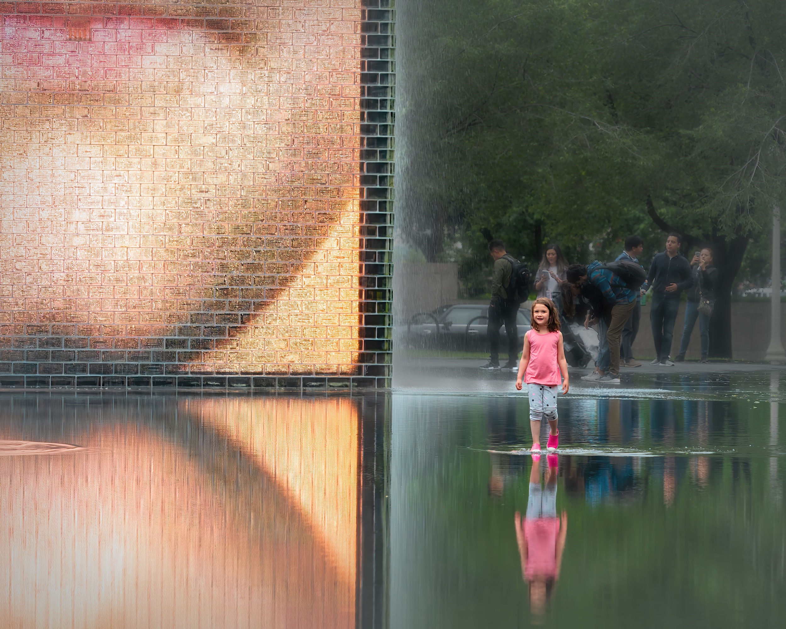 Crown Fountain in Chicago. Photo by Linda Buchanan. Used with permission. Linda is a street photographer with a particular passion for shooting in Chicago. You can see her galleries on Instagram at @lindab.moments and @lindab.places. Click for a larger image.