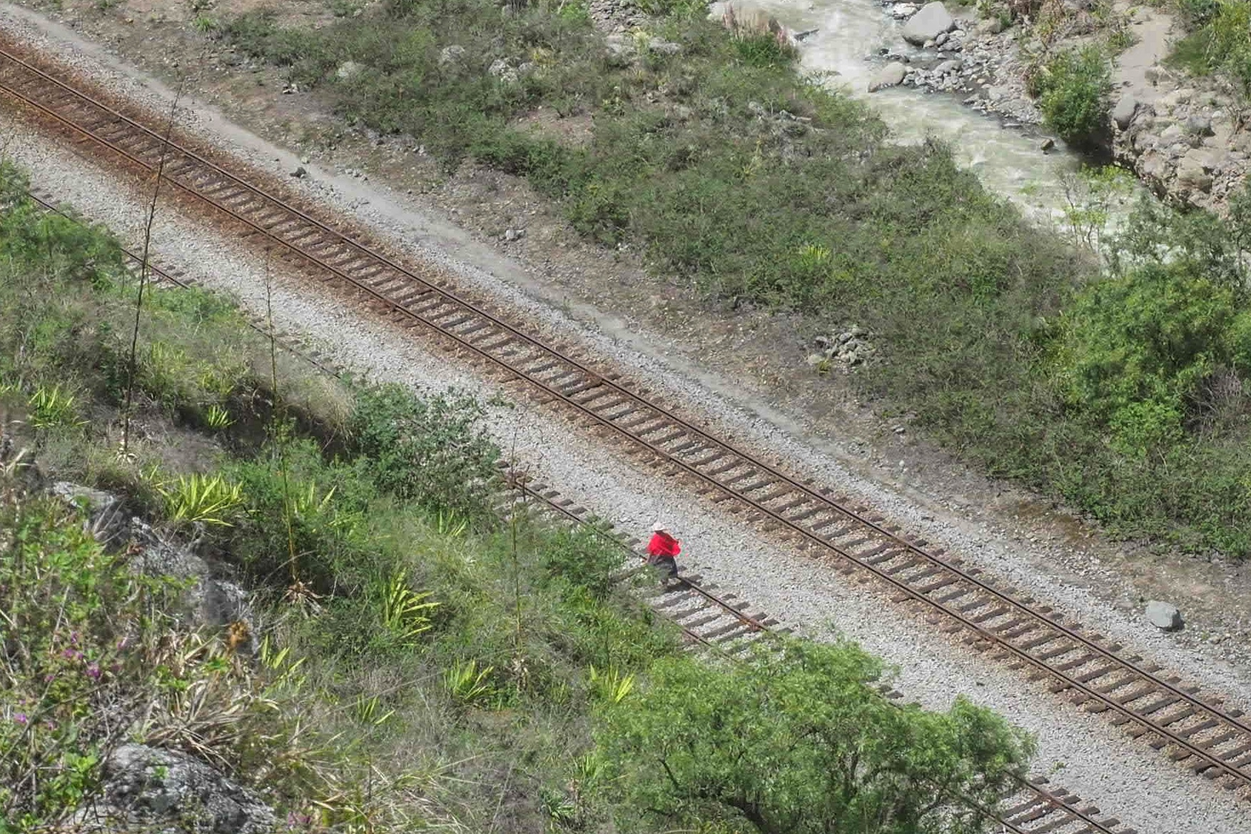 This was taken from the Devil's Nose Train in Ecuador. I was thrilled when a human appeared on the lower tracks. This kind of picture falls into the type of street photography called geometric street photography. The human part of the picture is not so important. Sometimes they just assist with scale. I thought I nailed it, but my viewer's did not agree.