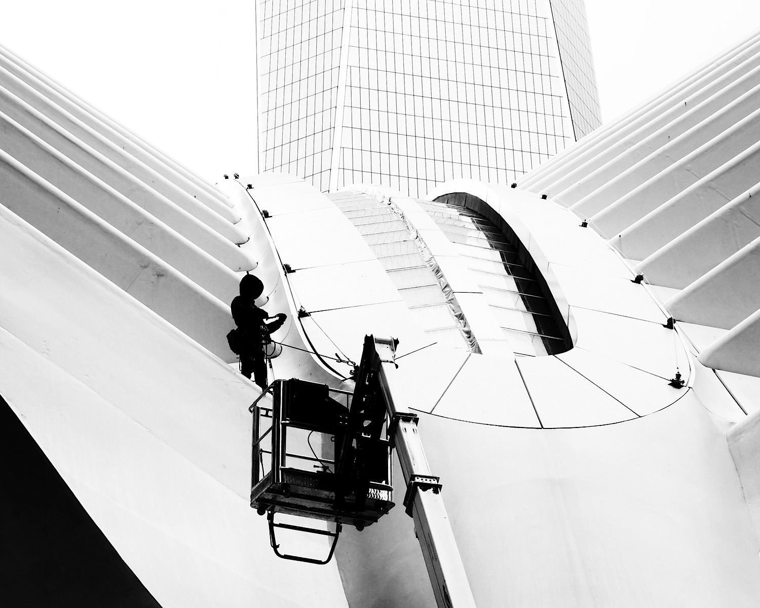 I took this picture in NYC specifically because of the repeating lines and patterns in the Oculus and the building behind it. I think they help bring a sense of depth to this rather stark composition.
