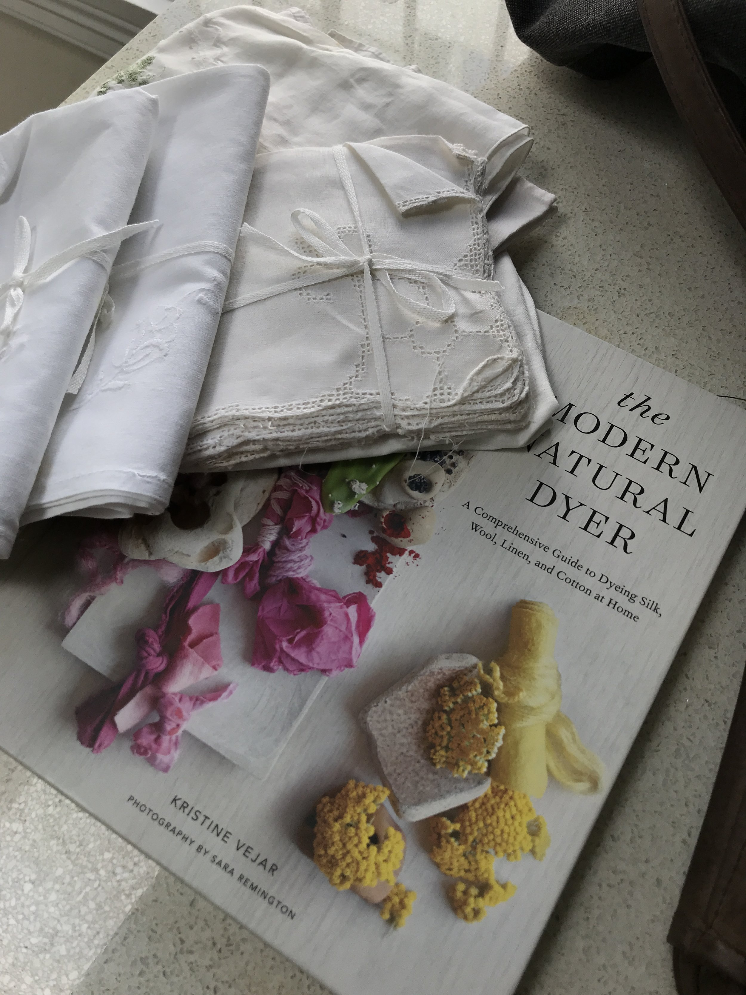 Some beautiful linen and cotton fabrics from the wonderful Rozelle Collectors Market - perfect to experiment on - although they are so beautiful - I hope the colours look Ok.