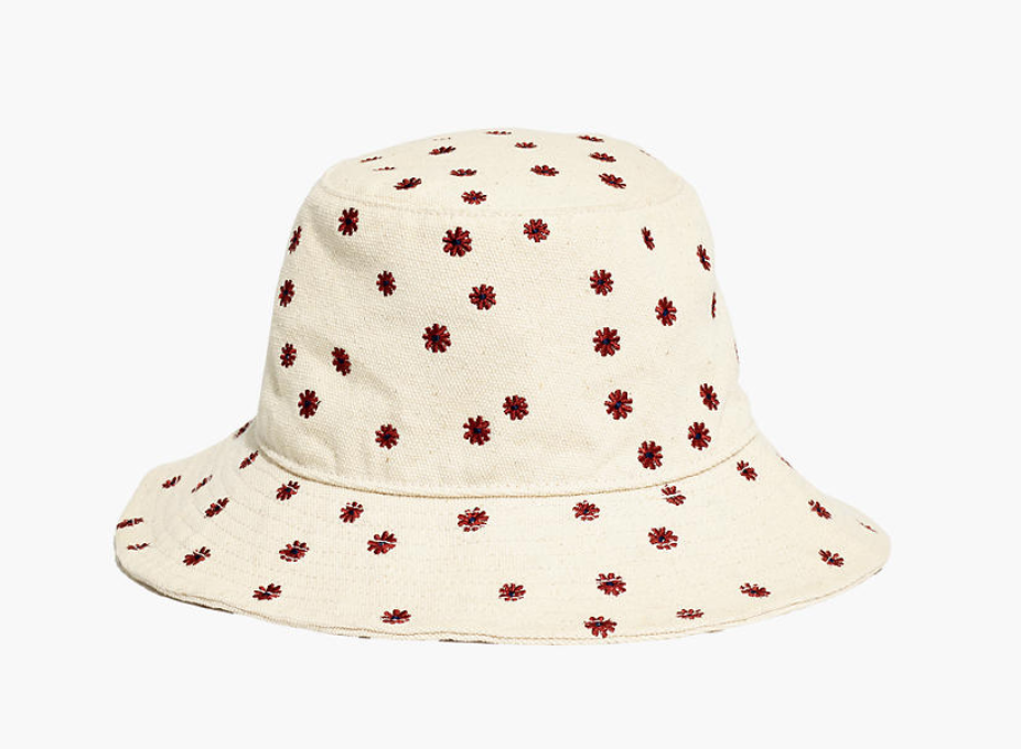 Madewell -  Daisy Embroidered Short-Brimmed Canvas Bucket Hat