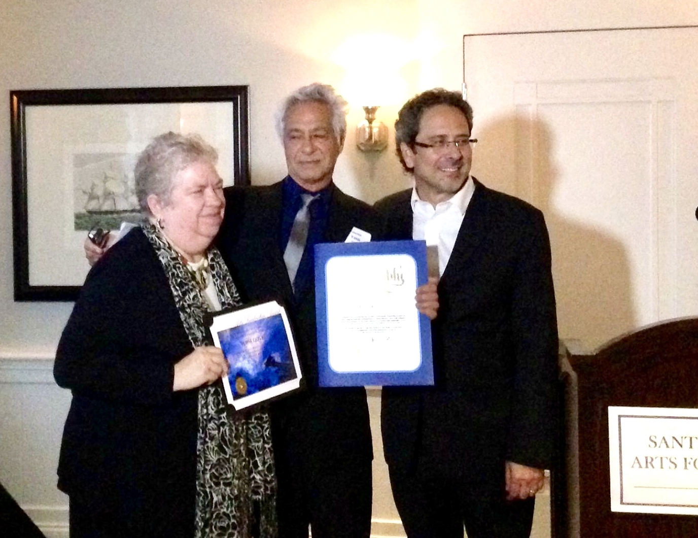 Yossi Govrin being awarded the Arts Leadership Award and the award of the California State Assembly by Mayor Pam O'Connor and State Assemblyman Richard Bloom.