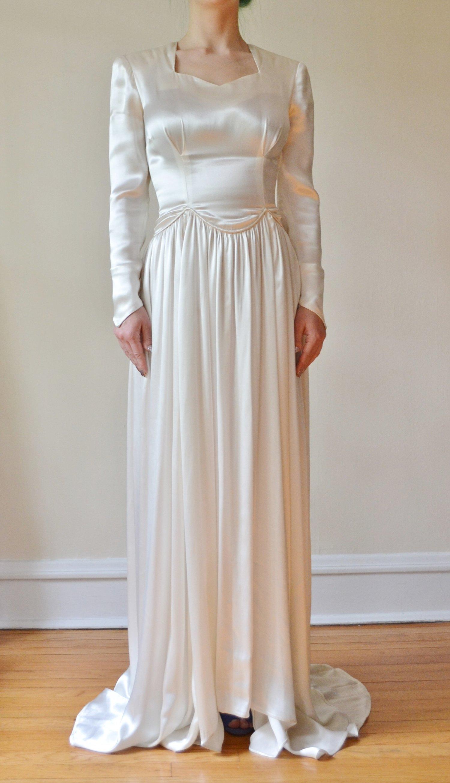 20's Art Deco Silk Wedding Gown — Olivine Vintage