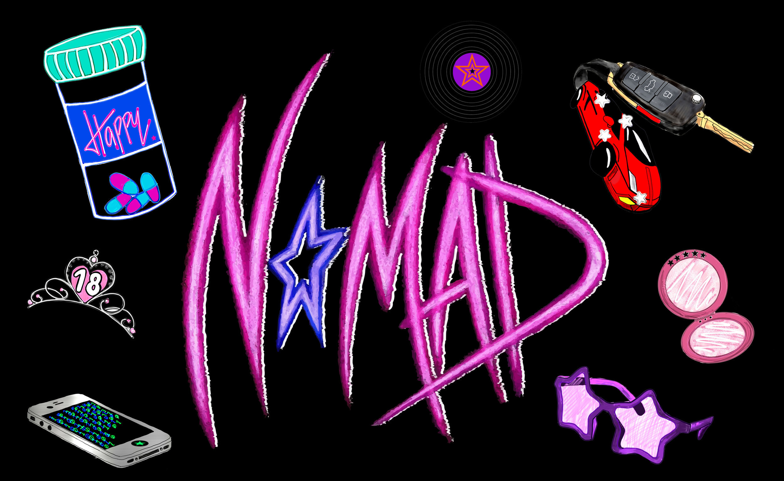 'Nomad' album art and logo by Julia Ysabela Fernandez