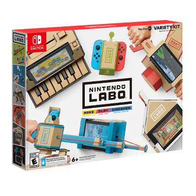 NINTENDO LABO TOY-CON VARIETY KIT - Make two Toy-Con RC Cars, a Fishing Rod, a Motorbike, a House, and a Piano using engineered, pre-cut cardboard sheets and fun, interactive instructions. Then, Play! Steer the RC Car, reel in fish from the ocean, drive your Motorbike, interact with a creature in the House, and play tunes on the Piano. Then, discover how it all comes to life with Nintendo Switch technology and, in Toy-Con Garage, invent new ways to play!$66.99 Retail | get your gamer to expand their gameplay