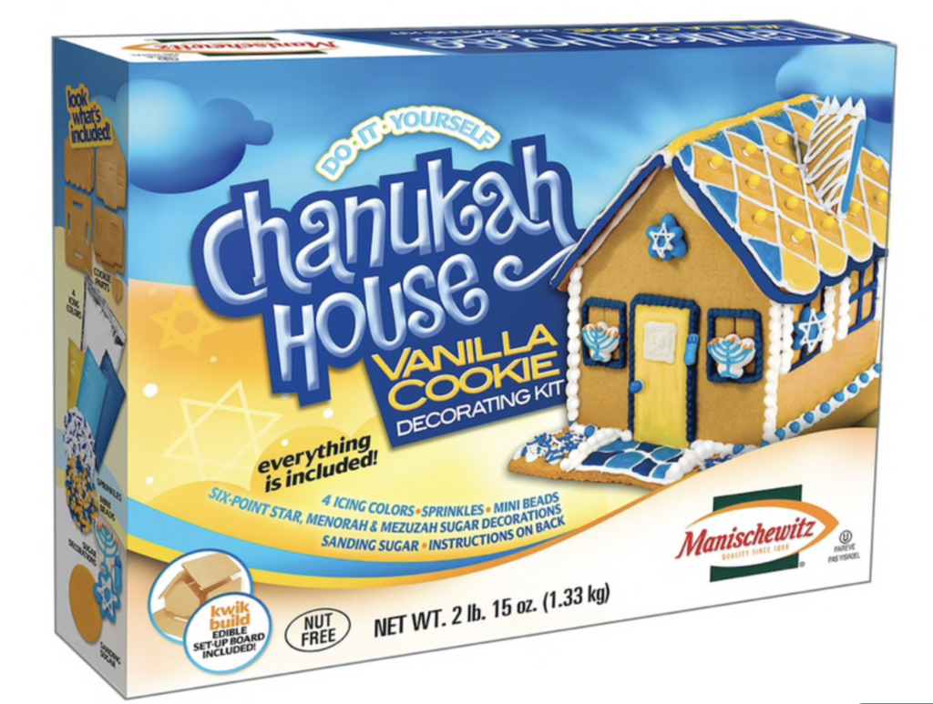 DIY CHANUKAH HOUSE - Manischewitz's Do-It-Yourself Chanukah House Vanilla Cookie Decorating Kit, comes with everything included in the box. 3 icing colors, sprinkles, mini beads, fondant, six-point star, menorah & mezuzah sugar decorations, and sanding sugar!$31.95 Retail | totally adorbs and delish!