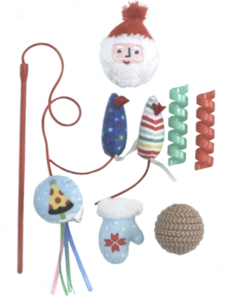 WONDERSHOP CAT TOY SET - The Wondershop cat toy cylinder gift set contains eight irresistible toys for hours of enjoyment. Each toy is sure to please and entertain the most finicky of cats.$6.99 Retail | fun for your fluffy friend!