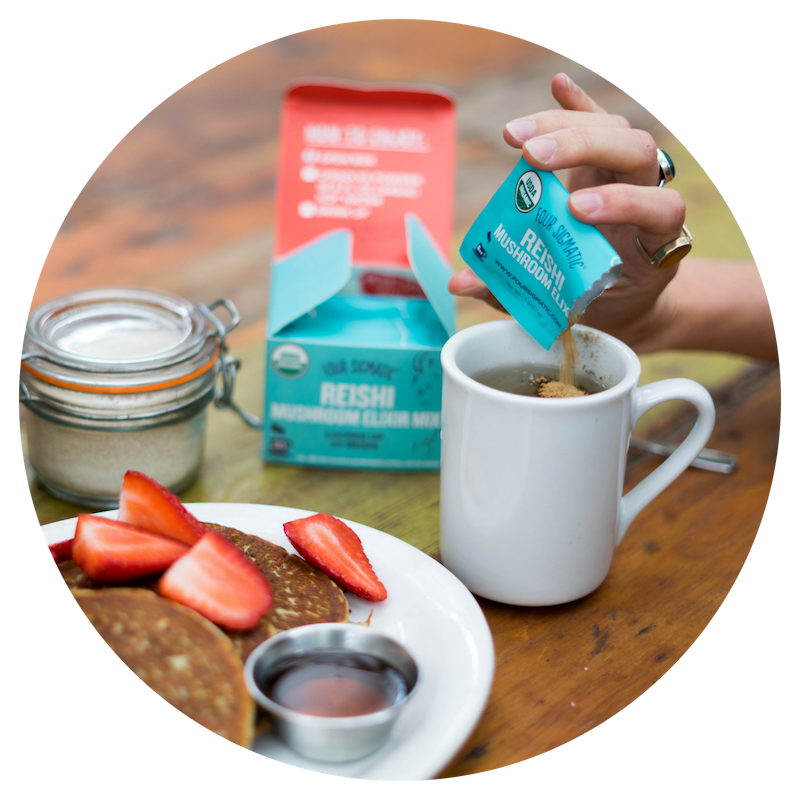 Four Sigmatic - They make drinking mushrooms delicious and easy-to-do with a wide variety of superfood (and super-good-for-you) beverages. Try Mushroom Coffees, Matcha, Hot Cacao, and more!