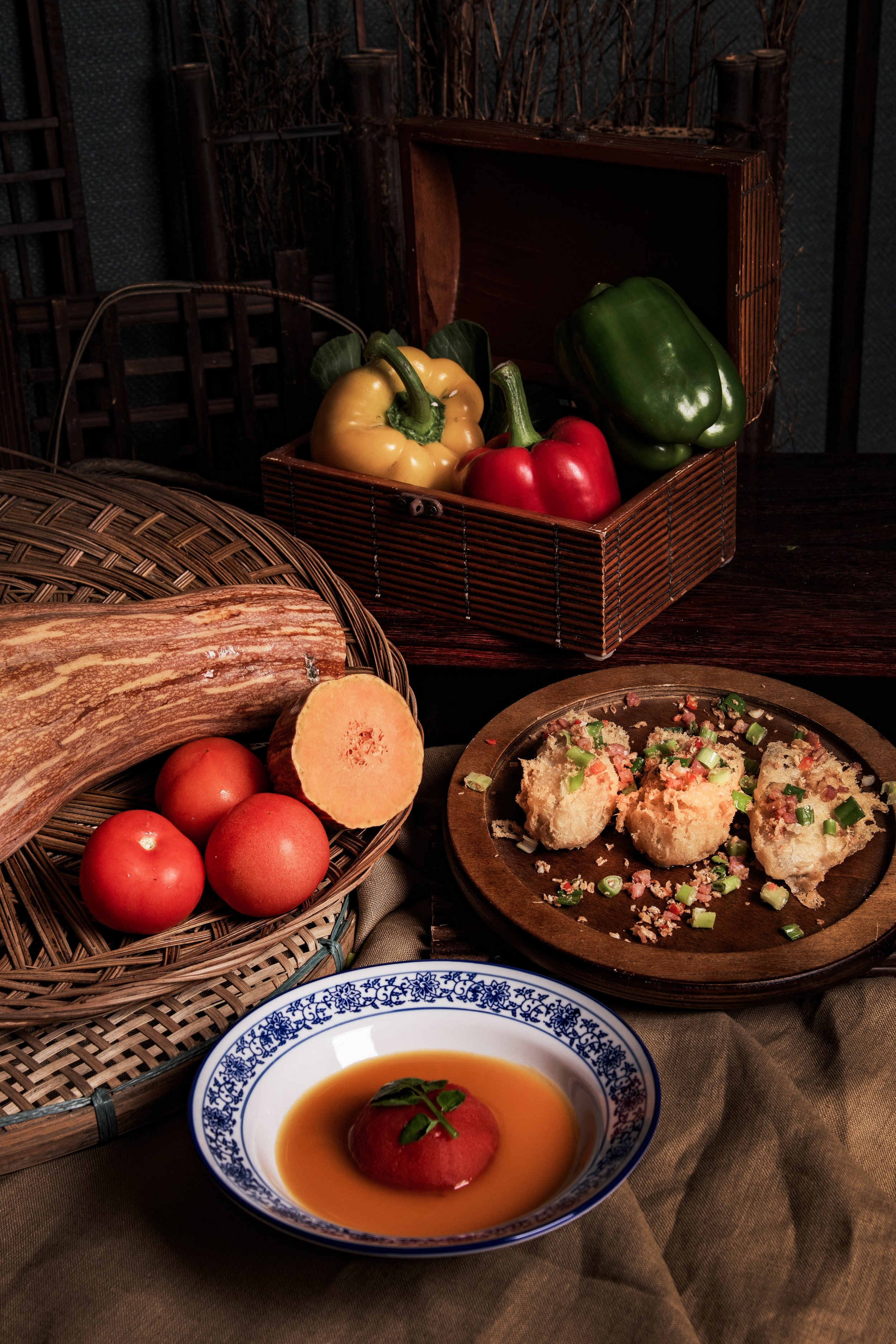 Fried Oysters with Seven Spices, Pumpkin Bisque with Tomato and Mushrooms.jpg